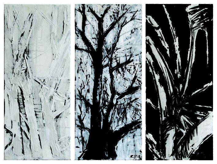 copaci-alb-negru-2014-3x-20x60-cm-tehnica-mixta-panza